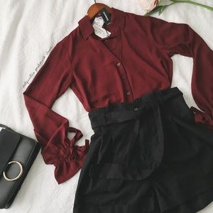 NWT Express Slim Fit Burgundy Blouse